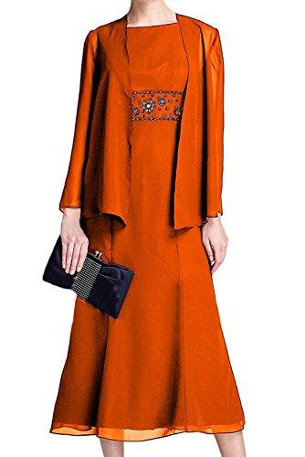 La Ballkleider Elegant mit Braut Orange Langarm Bolero Abendkleider Blau Knielang Marie Brautmutterkleider Navy Fnr1F0w