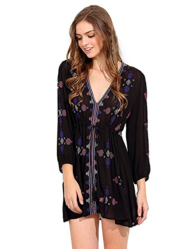 Milumia Women#039s Boho Embroidered V Neck Vintage 3/4 Sleeve Short Dress
