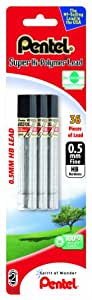 Pentel Super Hi-Polymer Lead Refill 0.5mm Fine, HB, 36 Pieces of Lead (C505BP3HB-K6)