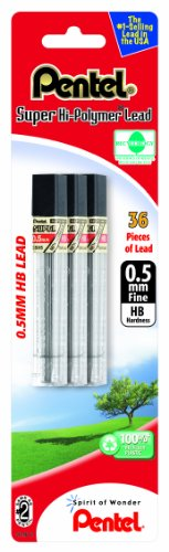 Pentel Super Hi-Polymer Lead Refill 0.5mm Fine, HB, 36 Pieces of Lead (C505BP3HB-K6) (Pentel Hi Lead Polymer)