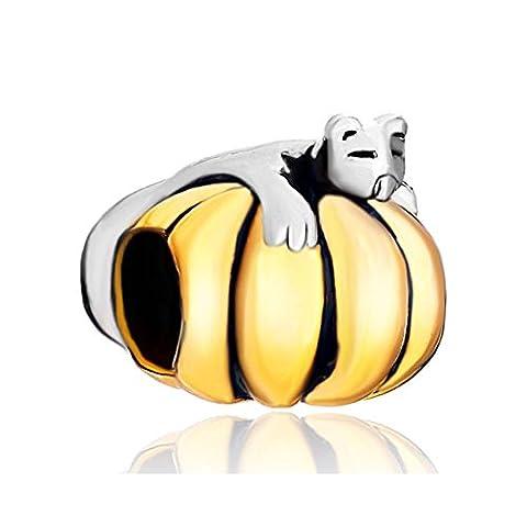 Q&Locket Cat Lying On The Gold Jack-o-lantern Charm Halloween Pumpkin Charms Beads For Bracelets - Jack Heart Charm