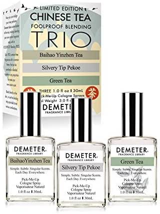 Demeter Fragrance Library Chinese Tea Foolproof Blending Set-3 Unique 1 oz Cologne Sprays - Baihao Yinzhen Tea, Silvery Tip Pekoe, Green Tea