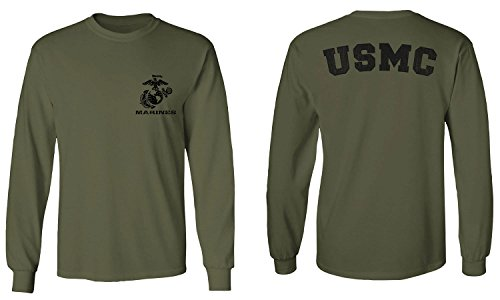Black Seal United States of America USA American Marines Corps USMC Men's Long Sleeve t Shirt (Olive, Medium)