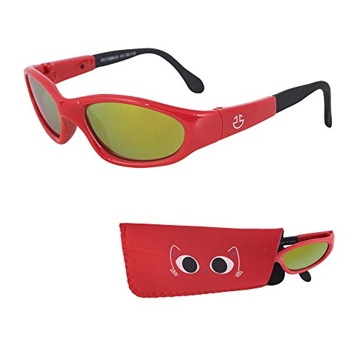 REVO Sunglasses for Babies – Red Mirrored Lenses - Reduces Glare, 100% UV Protection for Infants and Toddlers Ages 1 Month to 3 Years - Shiny Red Frame, Black Tips - Face Sunglasses Your That Find Fit