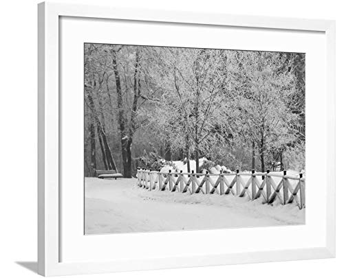 ArtEdge Winnipeg Manitoba, Canada Winter Scenes Keith Levit, White Framed Matted Wall Art Print, 18x24 in (Winnipeg Winter Canada Scenes Manitoba)