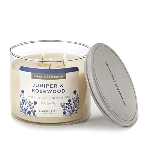 - Essential Elements by Candle-Lite Company Scented Juniper & Rosewood 3-Wick Jar Candle, 14.75 oz, Off Off White