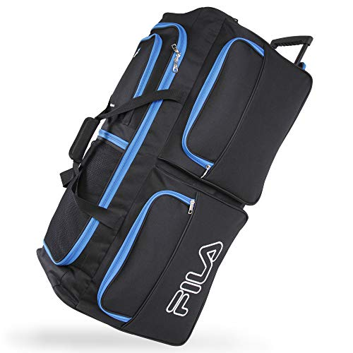 Fila 7-Pocket Large Rolling Duffel Bag, Black/Blue, One Size