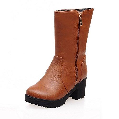 AdeeSu Zipper Ladies Boots Brown Platform Heels Chunky Leather Imitated qqHxr6w