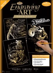 Bulk Buy: Royal Brush Engraving Art Value Packs 3/Pkg Gold Grizzly Bears/Rams/Wolves ENGARTVP-2 (2-Pack) by Royal & Langnickel
