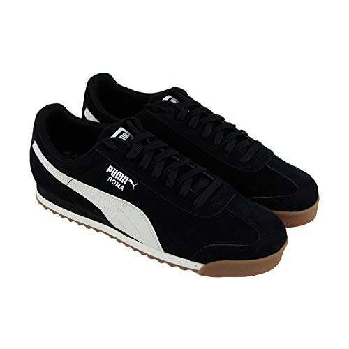 Puma Roma Smooth Nubuck Mens Black Nubuck Low Top Lace Up Sneakers Shoes 9.5
