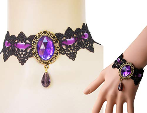 Prettie Choker Necklace Bracelet Set for Halloween Punk Steampunk Costume Party Women Gothic Black Lace Necklace Retro Lolita Victorian Choker Halloween Vampire Pendant Chain(Purple)