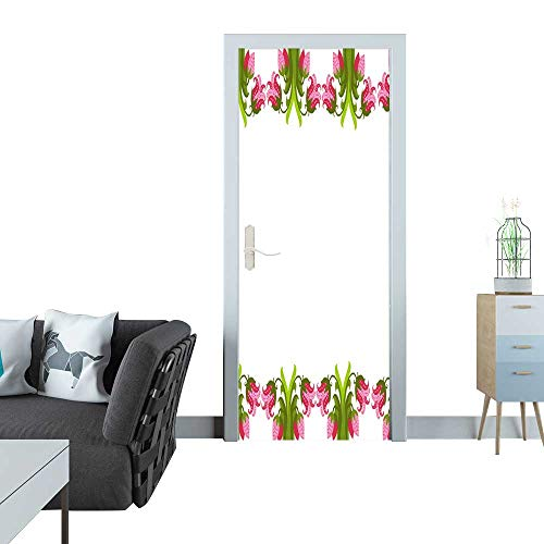 Anmaseven Automatic Door Sticker Greeting Card with Seamless Floral Border Perfect for Spring Holiday Invitation 3D Door Sticker 35x83(90x210 -