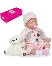 Decdeal Reborn Baby Doll 22 inch Cloth Body Awake Lifelike Toddler Silicone Doll Play House Toy Gift with Grey and Blue Dog Clothes and Bear Toy
