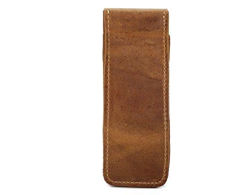 Ying Bolso de cuero retro Bolso de cuero con piel vertical Hebilla Unisex Bags Brass