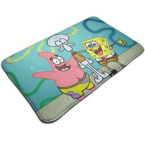 (Xzcxyadd Bath Mat- Spongebob Squarepants and Friends Design, Non Slip Absorbs Soft Rug Carpet for Indoor Outdoor Patio)