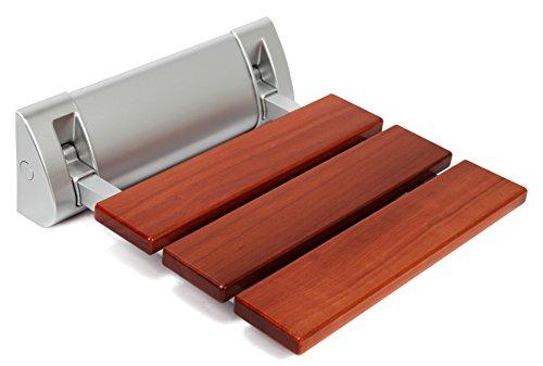 Kenley Folding Shower Seat Wooden Wall Mounted Bench Bathroom Stool - Teak Wood / Aluminum