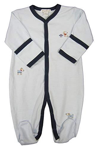Kissy Kissy Baby-Boys Infant Cozy Pups Stripe Footie-Blue and White-Newborn ()