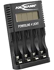 ANSMANN Accu-oplader voor 4x AA en AAA NiMH-accu's - batterijlader met afzonderlijke schachtbewaking, automatische uitschakeling, druppellading, LCD-display en USB-lader - Powerline 4 Light