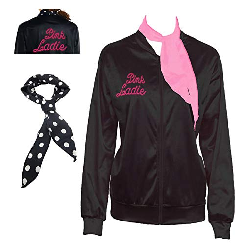 Yan Zhong 1950s Rhinestone Pink Ladies Satin Jacket with Neck Scarf T Bird Women Danny Halloween Costume Fancy Dress, Black/Pink, (Medium)]()