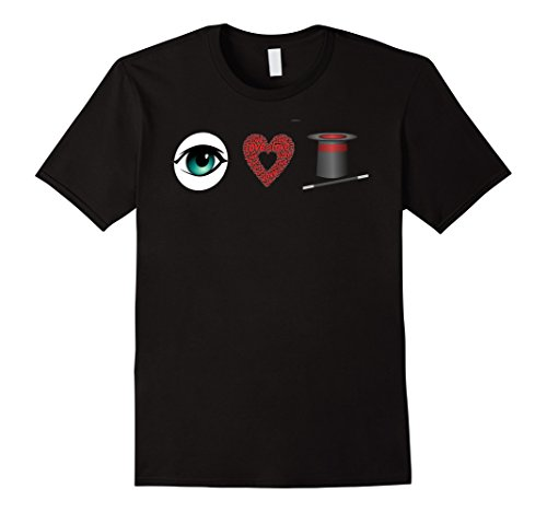 Mens Magic I Love Magician Eye Heart Hat Wand T Shirt 3XL...