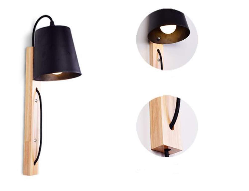 schwarz Nordic Style Wandlampe Wrought Iron Modern LED Bedside Holzlampe mit Plug Simple Living Room Hotel Bedroom Dekorlampe,schwarz