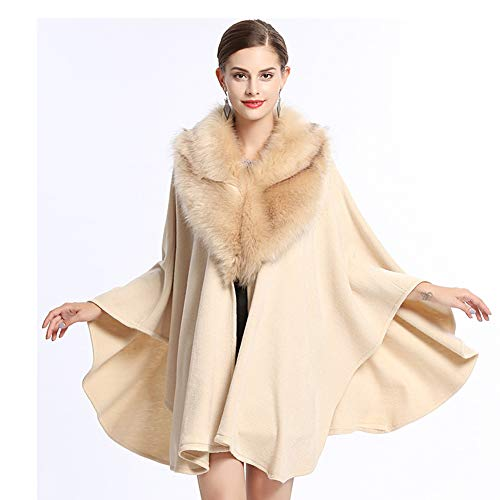 QueenDress Women's Fuax Fox Fur Shawl Warp Stole Shrug Long Winter Soft Bridal Wedding Cover Up