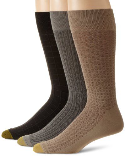Gold Toe Men's Microfiber Fashion Sock, 3 Pack,Brown/Blac...