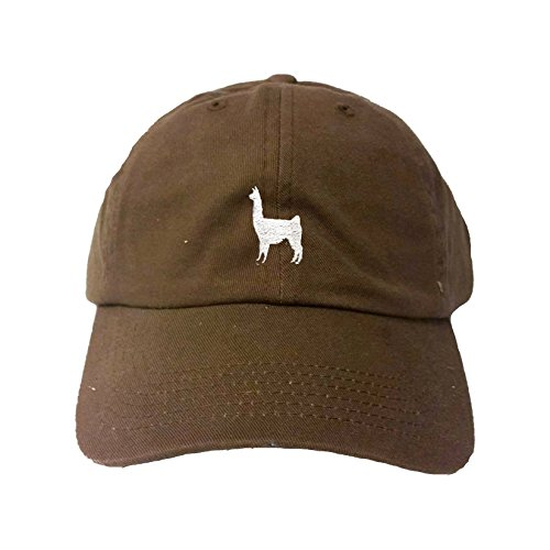 Go All Out Adjustable Brown Adult Llama Embroidered Dad - Brown Llama Apparel