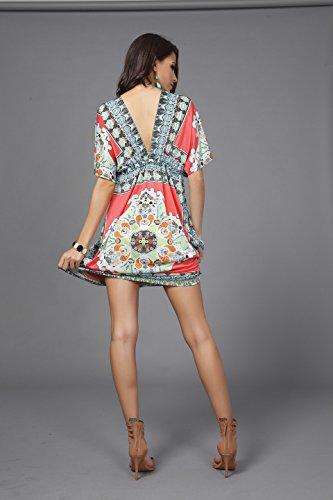813106dfb6cda SMUDGE Life Women's White Ethnic Print Kaftan Maxi Dress Summer Beach Dress