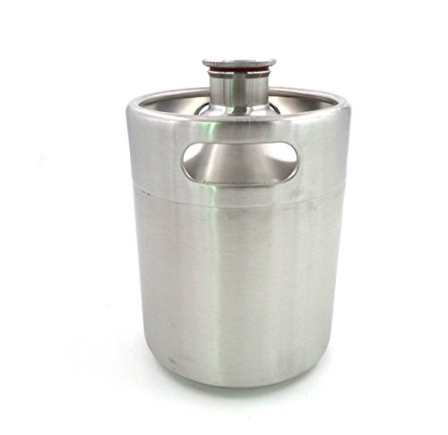 Brewhouse168 Bs0097 Keg Style Stainless Steel Beer 64 oz. Mini Keg Growler