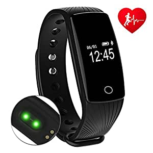 RIVERSONG Fitness Tracker Updated Version Waterproof Heart Rate Tracking Smart Bracelet Pedometer Activity Monitors Sleep Calorie Tracking Wristband Great Present (Black1)