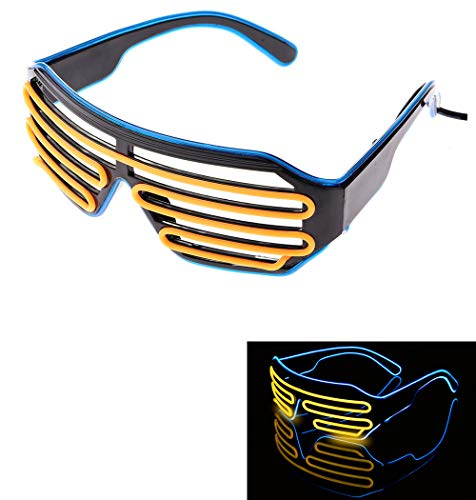 WannaWant Neon Flashing Light LED Party Sunglasses Shutter Shades Retro Hip Hop Cyberpunk Design (Neon Blue and Yellow)