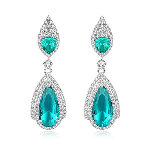 CZCITY Cubic Zirconia Stud Earrings for Women - Dangle Earrings for Women 18K Rhodium Plated Turquoise Stud Earrings, Perfect for Party Occasion, Bridesmaid Gifts (Turquoise)