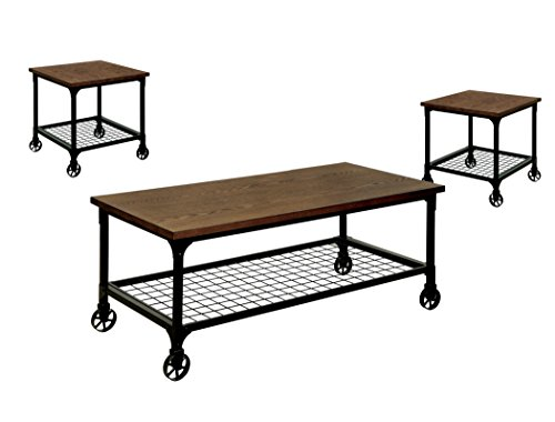 Racquel Industrial 3 Piece Coffee and End Table Set, Medium Oak ()