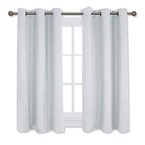 Panel Platinum Curtain (NICETOWN Room Darkening Draperies Curtains Panels, Window Treatment Thermal Insulated Grommet Room Darkening Curtains/Drapes for Bedroom (2 Panels,42 by 45,Platinum-Greyish White))