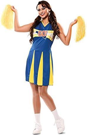 Disfraz de Animadora Azul y Amarilla para mujer: Amazon.es ...