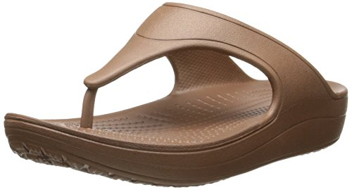 crocs Women's WN Platform Flip  Sandal, Bronze, 7 B(M) US