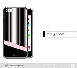 Pink Black Thin Stripes iPhone 5c Rubber Silicone TPU Cell Phone Case