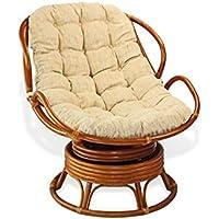 Handmade Rattan Wicker Swivel Rocking Chelsea Papasan Chair with Thick Cream Cushion.Colonial