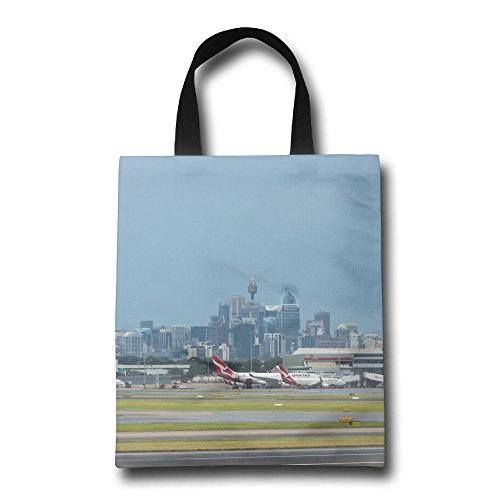 ZhiqianDF Sydney Australia March Sydney Airport With The Sydney Cbd In Background Reusable Shopping Grocery Bag - Shopping Sydney Airport