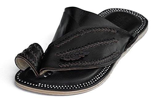 Desert Sandals – Men's Leather Shoes (Size 10, Black). Handmade footwear made from soft, comfortable goatskin and rugged, durable camel hide. Exotic f…