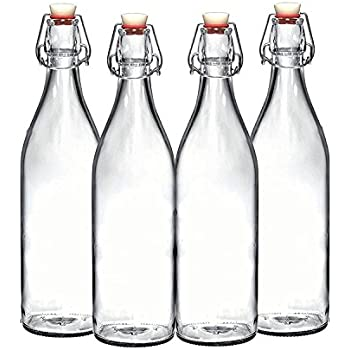 Set of 4-33.75 Oz Giara Glass Bottle with Stopper Caps, Carafe Swing Top Bottles with Airtight Lids for Oil, Vinegar, Beverages, Liquor, Beer, Water, ...