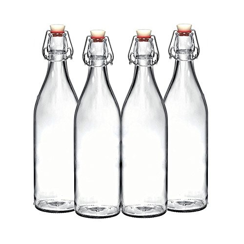 Set of 4-33.75 Oz Giara Glass Bottle with Stopper Caps, Carafe Swing Top Bottles with Airtight Lids for Oil, Vinegar, Beverages, Liquor, Beer, Water, Kombucha, Kefir, Soda, By California Home Goods ()