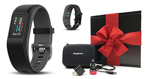 Cheap Garmin vivosport (Large, Slate) Gift Box Bundle | Includes PlayBetter USB Car & Wall Charging Adapters, Protective Hard Case | On-Wrist HR, Color Display, GPS Fitness Band | Black Gift Box