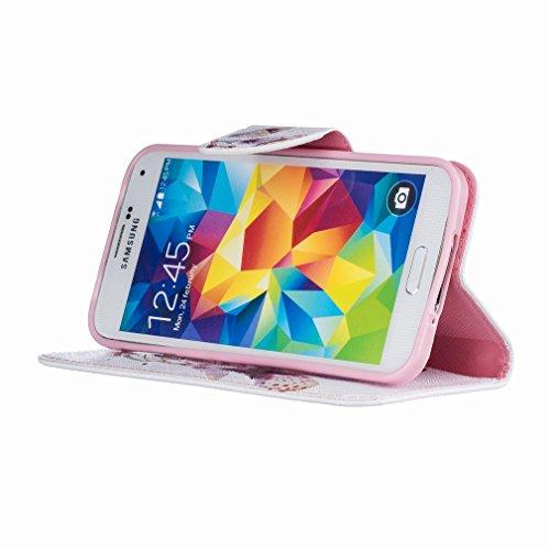 Yiizy Samsung Galaxy S5 G900F Funda, El Color Campanula Diseño Solapa Flip Billetera Carcasa Tapa Estuches Premium PU Cuero Cover Cáscara Bumper Protector Slim Piel Shell Case Stand Ranura para Tarjet