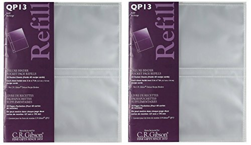 CR Gibson QP-13 Deluxe Binder pocket page refills, 20 pocket sheet (holds 40 recipe cards)(2 (Plastic Refill Binder)