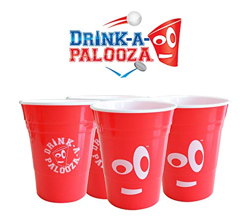 DRINK-A-PALOOZA: Red Plastic Party Cups, 16 oz 4 Pack, Hard Plastic, Reusable Dishwasher Safe