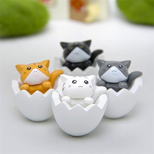 NEW 4pcs Game Lovely Cartoon White eggshell Cat Action Figure Gardening
