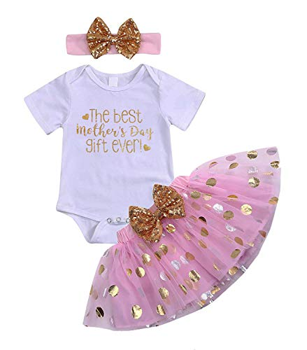 Happy Mother's Day Newborn Baby Girl Clothes Lovely Letter Printed Bodysuit Bow Tutu Tulle Dress and Headband Skirt Set(0-3 Months) Pink