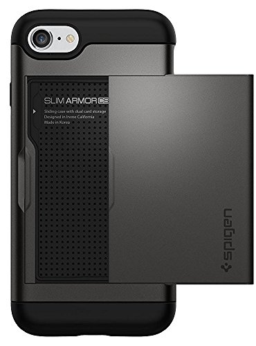 Spigen Slim Armor CS iPhone 7 Case with Slim Dual Layer Wallet Design and Card Slot Holder for iPhone 7 2017 - Gunmetal